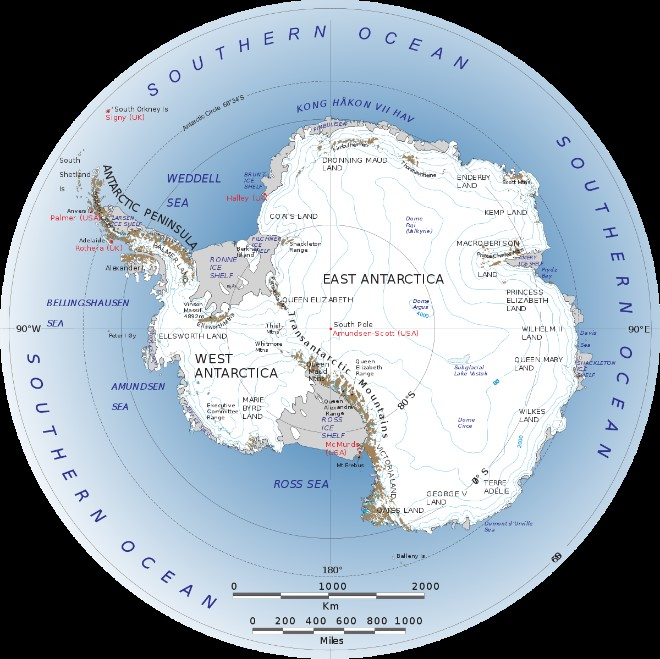 A map of Antarctica and the Southern Ocean