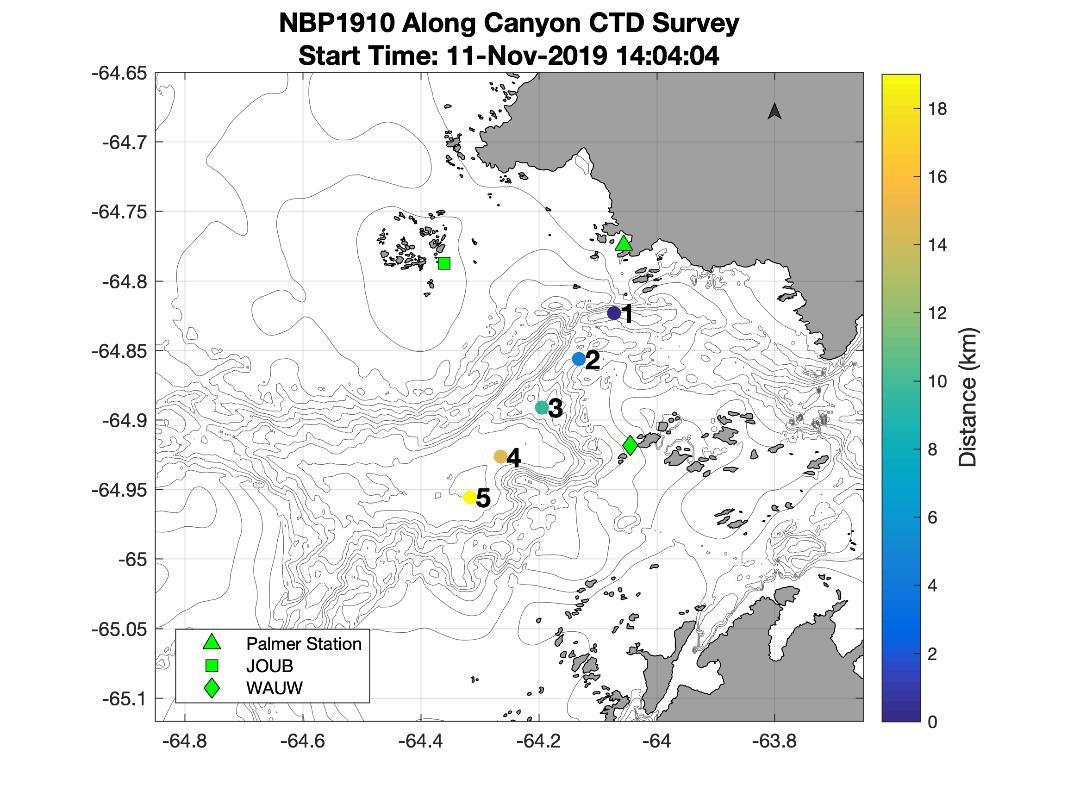 A map of CTD profiles taken across Palmer Canyon