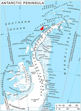 A map of the West Antarctic Peninsula