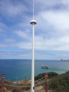 A SeaSonde Codar transmit and receive antenna along the coast.
