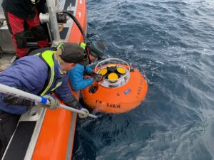Recovery of echosounder float.