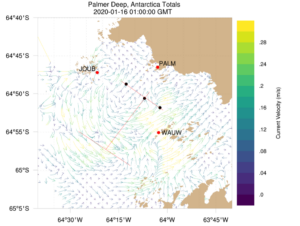 A surface current map from offshore Palmer Station collected by Codar HF-Radars.