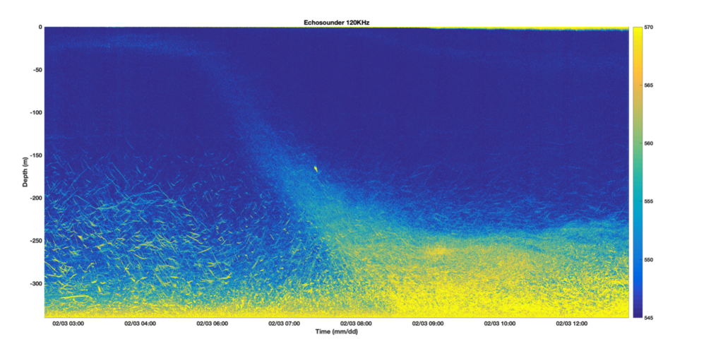 Echosounder data from offshore Palmer Station showing about 9 hours of data