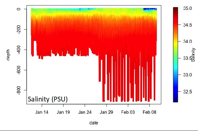 A graph of underwater salinity profiles collected by a glider in Antarctica.