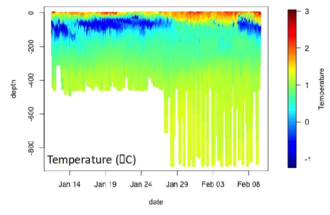 A graph of underwater temperature profiles collected by a glider in Antarctica.